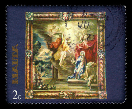 Malta - CIRCA 1977: A stamp printed in Malta shows annunciation of Our Lady, flemish tapestries, circa 1977 Redakční