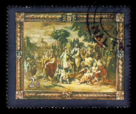 Malta - CIRCA 1978: A stamp printed in Malta shows Jesus Entry into Jerusalem, flemish tapestries, circa 1978