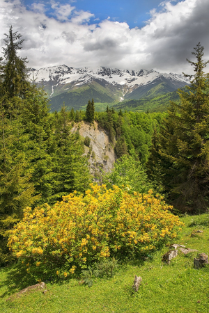 magnificent mountain landscape in the Caucasus Mountains, Upper Svaneti, Georgia Stock Photo