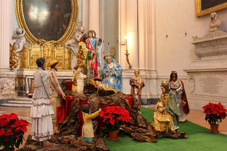 ROME, ITALY: January 01, 2017 : nativity scene in archbasilica di San Giovanni in Lateranom, Cathedral of the Most Holy Savior and of Saints John the Baptist and the Evangelist in the Lateran, Rome, Italy