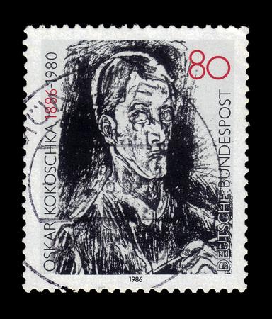 GERMANY - CIRCA 1986: A post stamp printed in Germany shows self portrait by Oskar Kokoschka (1886-1980), austrian artist, circa 1986