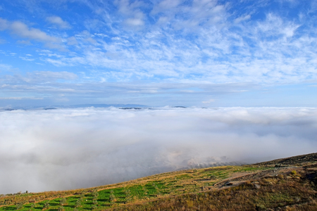 fog landscape in lower galilee, neighborhood of Nazareth in Israel Stock Photo