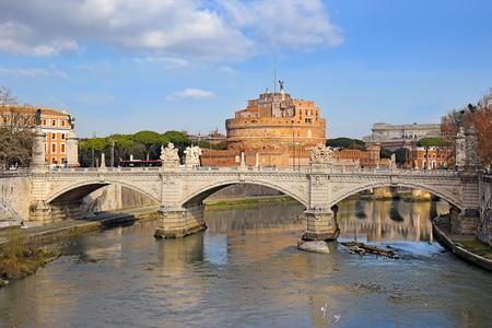 cityscape of Rome with a bridge over the Tiber River - Ponte Vittorio Emanuele II, Rome, Italy