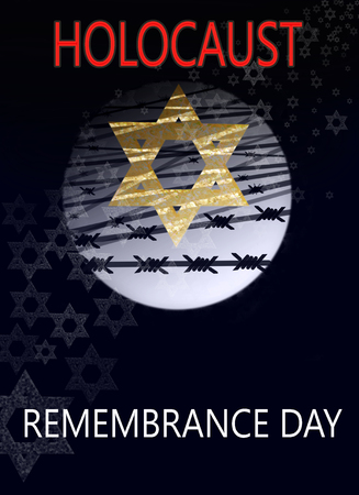 image dedicated to the Holocaust, a star of David against the background of the moon and barbed wire, with inscription : Holocaust remembrance day