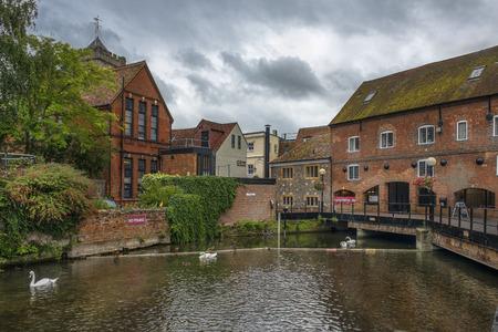 SALISBURY, UNITED KINGDOM -  August 03, 2015: cityscape with River Avon, Riverside Walk, the Maltings in Salisbury, Wiltshire, England Editorial