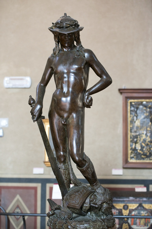 FLORENCE, ITALY: February 18, 2017 : bronze statue of David by Donatello, Bargello National Museum, Florence, Italy Editorial