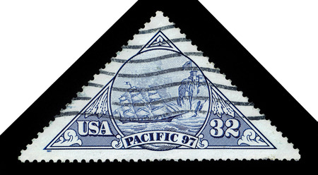 United States - circa 1997: A stamp printed by USA shows sailing ship off the coast of America, Pacific 97 Issue, circa 1997 Editorial