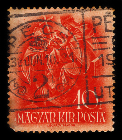 HUNGARY - CIRCA 1938 : a stamp printed in Hungary shows Archbishop Asztrik receives the crown from the pope, series 900th anniv. of the death of St. Stephen, circa 1938