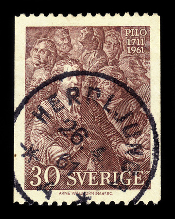 SWEDEN - CIRCA 1961: stamp printed in Sweden, shows Coronation of Gustav III by Carl Gustaf Pilo, swedish artist, 250th Birth Anniversary of Carl Gustav Pilo, circa 1961 報道画像