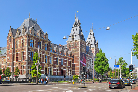 Amsterdam, the Netherlands - May 20, 2018: view of the rear facade of the Rijksmuseum (State museum) from the street Stadhouderskade in sunny day Editorial