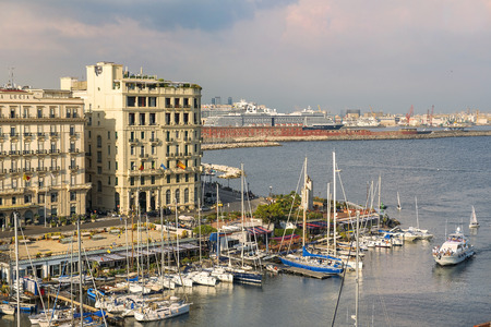 Naples, Italy - september 15, 2018: views of Naples and the marina from the height Castel dell Ovo, Naples, southern Italy Redakční
