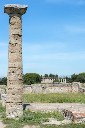 ancient greek archeological sites  in Poseidonia (Paestum), Campania, southern Italy