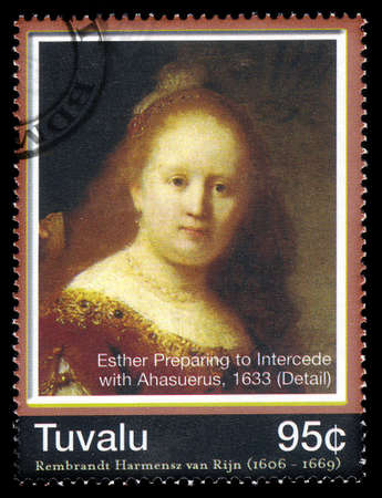 TUVALU - CIRCA 2006: A stamp printed in Tuvalu shows Esther preparing to intercede with Assuerus (detail) by Rembrandt van Rijn, National Gallery of Canada, Ottawa, circa 2006