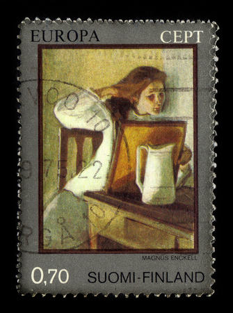 FINLAND - CIRCA 1975: stamp printed by Finland, shows girl straightening her hair, artwork by Magnus Enckell, finnish symbolist painter, circa 1975