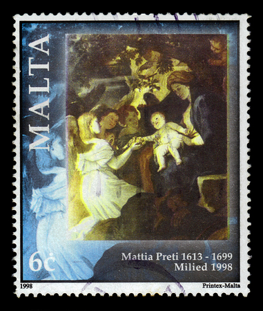 Malta - CIRCA 1998: A stamp printed in Malta shows rest on the way to Egypt, bible scene, painting by italian painter Mattia Preti, series Christmas, circa 1998 Editorial