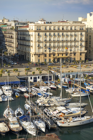 Naples, Italy - september 15, 2018: views of Naples and the marina from the height Castel dell'Ovo, Grand Hotel Santa Lucia in the background Redakční