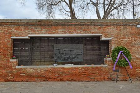 Venice, Italy - January 30, 2019: Holocaust memorial in Ghetto Novo in Venice, Italy