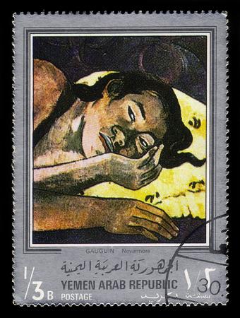 Yemen - CIRCA 1968: stamp printed in Yemen Arab Republic, shows painting by Paul Gauguin, Nevermore (1897), silver frame, circa 1968