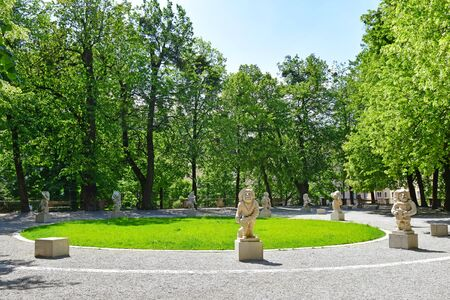 Dwarf Garden in Mirabellgarten or Mirabell garden in Salzburg, Austria