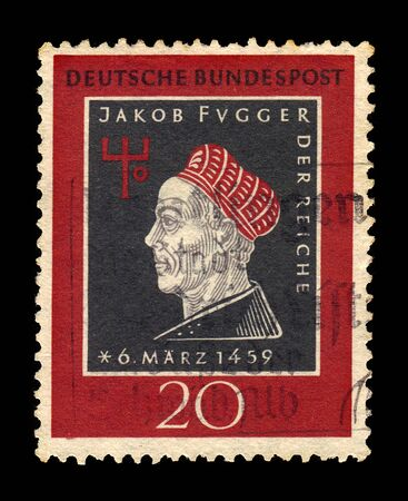 GERMANY - CIRCA 1959: postage stamp printed in Germany, shows Jakob Fugger the Rich, businessman and banker, 500th anniversary of the birth, circa 1959