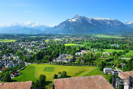 panoramic view of the neighborhood of Salzburg from the height of the Hohensalzburg Fortress, Salzburg, Austria Foto de archivo