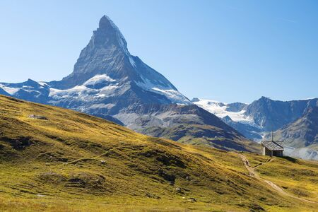Matterhorn - peak in the Pennine Alps on the Swiss border in the canton of Valais and Italy in the province of Aosta valley