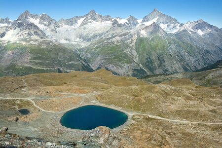 mountain landscape in the swiss alps in the area of the Great St. Bernard Pass in Switzerland Stock Photo