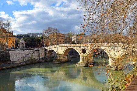 Sixtus bridge (Italian: Ponte Sisto) over the Tiber river, pedestrian bridge in the center of Rome connecting the banks of the Tiber