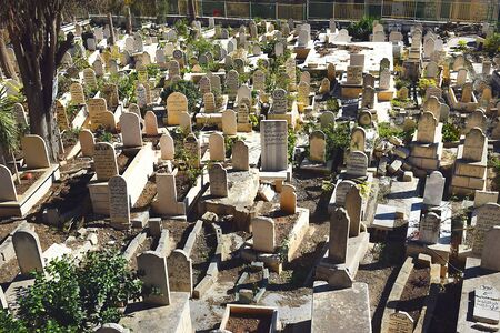 NAZARETH, ISRAEL - DECEMBER 21, 2019: muslim cemetery in the old city of Nazareth, Israel