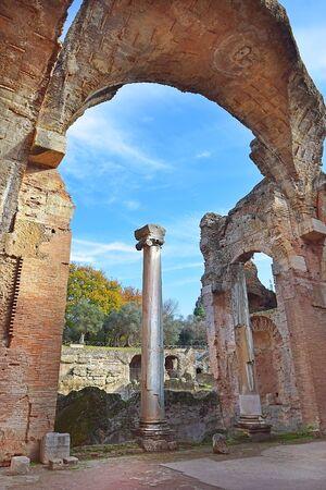 picturesque ancient ruins in Villa Adriana (Hadrian's Villa) in Tivoli, neighborhood of Rome, Italy