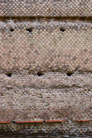 detail of antique brickwork in Tivoli, neighborhood of Rome, Italy