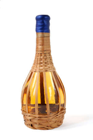 aligote: White wine bottle braided by a rod
