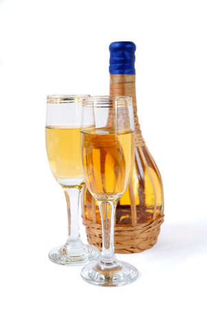 aligote: White wine bottle and glasses