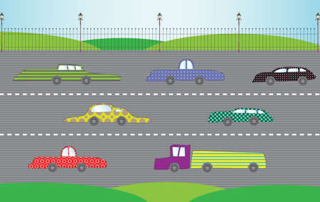 City road with cars, vector illustration  Vector