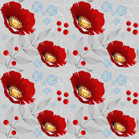Vector floral seamless pattern with poppies Vector
