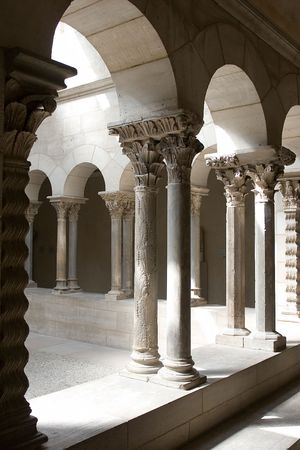 Cloisters stone arches - light and shadow, silence
