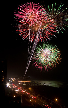 Firework on 4th of July explodes over the Pier Village in Long Branch, NJ, USA