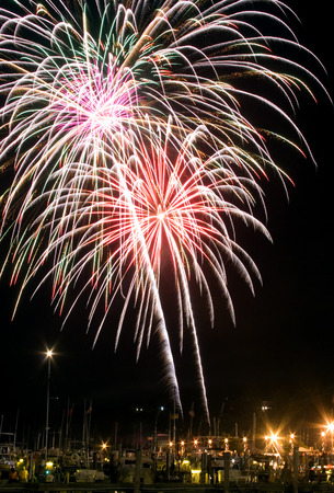 4th of July firework explodes over the Sandy Hook Bay Marina in Atlantic Highlands, NJ, USA