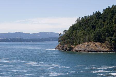 woody bay: Rocky coastline, -ocean or mountain vista. Gulf Islands. British Columbia.