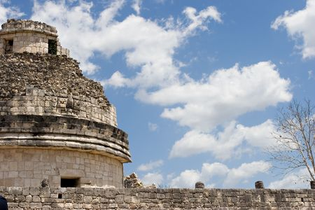 Mayan heritage in Chichen Itza, - The Observatory El Caracol (Fragment) on the blue sky, Yucatan, Mexico