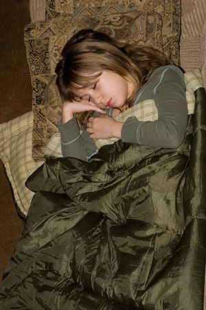 Shhhhhhh!... Little girl tired, and fall asleep after this long - long day.