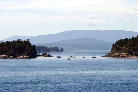 Boats sailing between islands. Gulf Islands. British Columbia.