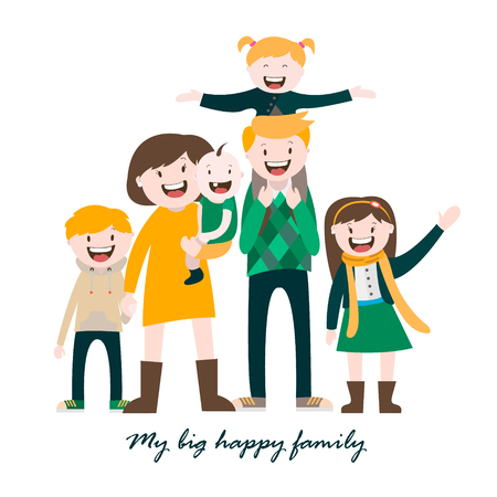 large family: my big happy family , a large family , vector graphics