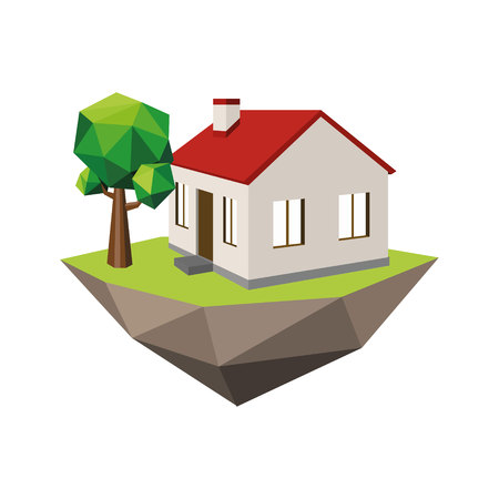 House with a red roof and a tree on the island