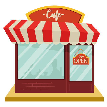 Cafe shop, building facade, vector