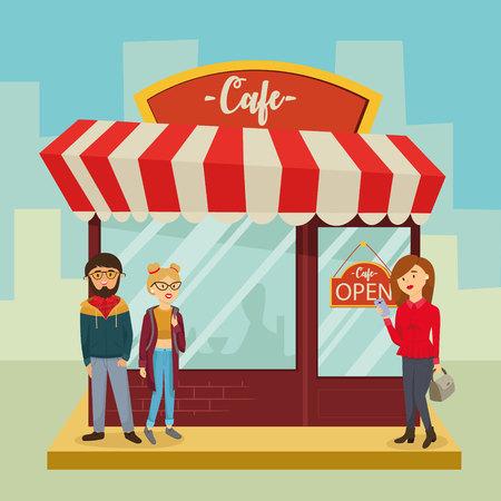pareja comiendo: Cafe shop, building facade, people, visitors. vector