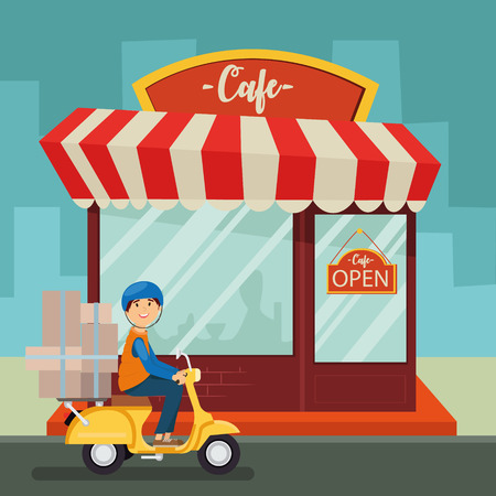 Courier en una moto, cafetería, fachada, servicio, vector Vectores