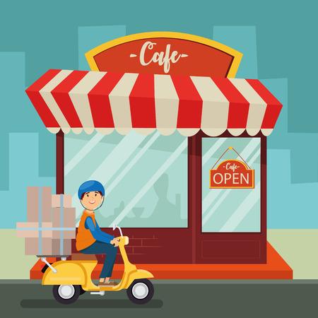 Courier on a scooter, Cafe shop, building facade, service, vector