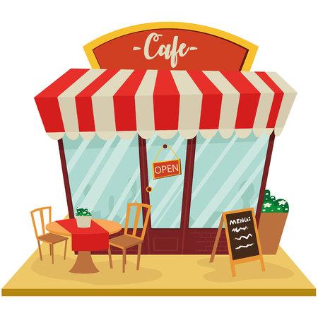 Tienda de café, fachada de edificio, vector Vectores