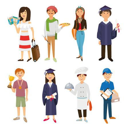 prepare: Set of people. Profession. Cook, courier, sportsman, tourist, graduate, artist, vector
